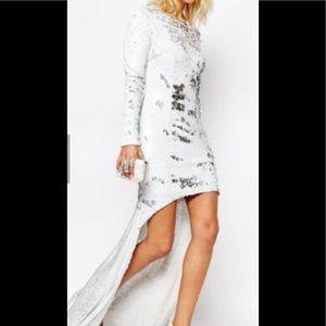 White Hi-Lo sequin dress Size 4